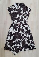 NEXT size 12 white FLORAL DRESS black ASYMMETRICAL HEM beige PARTY summer