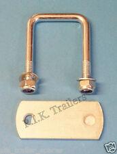 50mm x 50mm U Bolt & PLATE with Locking Nuts - Mild Steel - Trailer