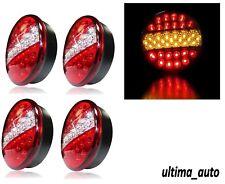 4x 12V / 24V LED Hamburger Brake Indicator Tail Lights Round Trailer Car Van