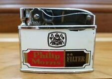 Rare Vintage Philip Morris Cigarette Petrol Lighter made in Japan .works.