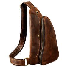 Men Genuine Leather Sling Shoulder Messenger Backpack Chest Crossbody Bag