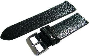 Uhrenarmband Perl Roche Leder schwarz Dornschließe poliert Anstoß 24mm