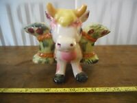 VINTAGE  3 PC SET BULL COW CARRYING SALT & PEPPER SHAKERS JAPAN, RARE