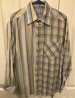 Robert Graham Mens Long-Sleeve Button-Up Shirt blue yellow stripes Size Large
