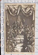 1709 VIRGIL AENEID PRINT Du Guernier KING ON THRONE