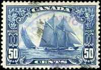 Canada #158 used VF  1929 Scroll Issue 50c dark blue Bluenose CDS CV$100.00