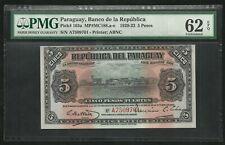 Paraguay : 5 Pesos 1920-23 ; PMG : UNC 62 ; EPQ