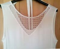Street One Tunika Bluse Shirt Top Crinkle Spitze Baumwolle 42 L weiß