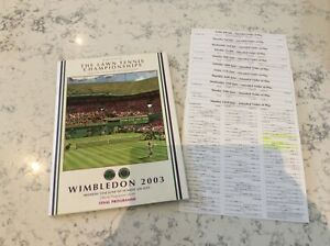 Wimbledon 2003 final program with order of play cards