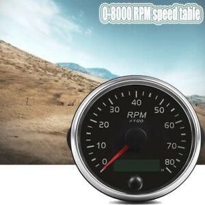12V/24V 0-8000RPM Tachometer Gauge Tacho Meter With Digital Hourmeter Durable