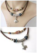 NEW Leather Hemp Tibetan Silver Pendant Charm Necklace Choker Tribal Vintage