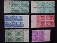 1949 Plate Block Set Complete #981-986  6 Blocks  MNH OG