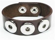 Pulsera de piel recién pulsador pulsera cuero genuino señora button pulsera marrón