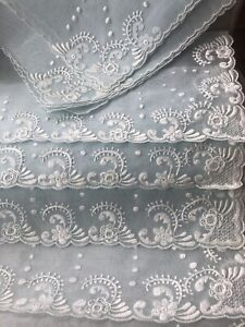 Vintage NEW Madeira Organdy Hand Embroidered 6 Placemats Table Runner Napkins