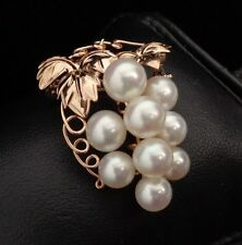 Womens 14K Yellow Grape Vine Brooch with Genuine Pearls