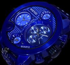 Animoo XXL Monster Watch Uhr Armbanduhr Herrenuhr Blau Dual Tritimer 3 Uhr Werke