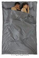 TREKSILK Grey Double Silk Liner Sleeping Bag Couple Travel Sheet Sack