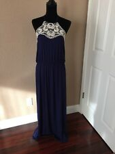 Navy Blue Jersey Maxi Dress With Lace And Spaghetti Straps L