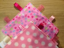 Handmade Pink Taggy Fleece And Cotton New Baby Gift Spots And Flowers