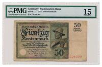 GERMANY banknote 50 Rentenmark 1925 PMG F 15 Choice Fine grade