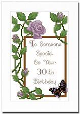 HAPPY BIRTHDAY PURPLE ROSES - ANY AGE - CROSS STITCH CARD KIT