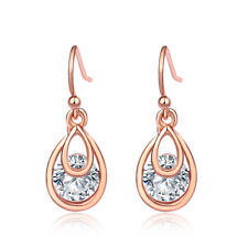 Women Rose Gold Plated Water Drop Clear Crystal Oval  Dangle Hook Stud Earrings