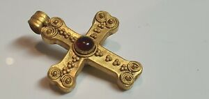 0702.  Byzantine Gold Cross Pendant. 6th-8th century AD