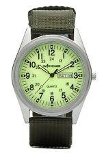 WANCHER Field Watch Light Green Dial Quartz Aluminum Nylon Belt Military Japan