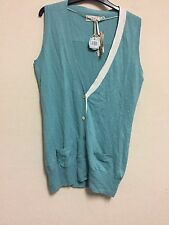Joules UK Size 14 Plain Turquoise Aqua Sleeveless Cardigan Button Down Pocket