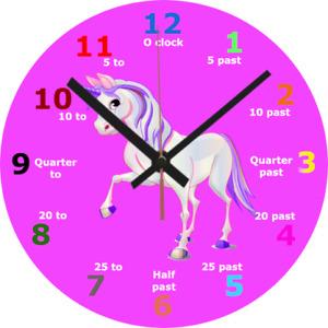 WALL CLOCK UNICORN 25cm Children Education Pink Teaching Pony Home Decor 1016