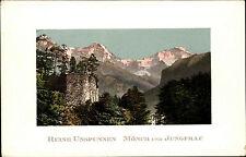Ruine Unspunnen Wilderswil Kanton Bern Color AK ~1920/30 Mönch und Jungfrau