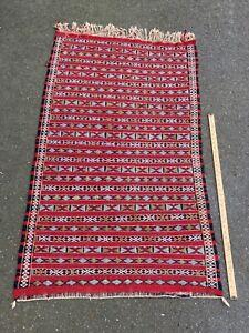 Vintage Moroccan Berber Rug Carpet - Old Style Kilim Burgundy - 5' x 3'