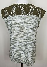 KUT From the Kloth Top M Lace Back Knit Sleeveless Shirt Moss Heathered Green
