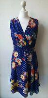 KAREN MILLEN DRESS UK10 EU38 UK6 blue floral spotty knee length v neck...