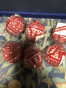 Gisela Graham 6 Red Nordic Knitted Baubles Balls Decoration