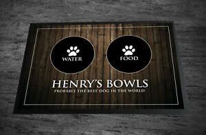 Personalised with any name Wood effect Pet dog feeding mat 60 x 40 cm Large Mat