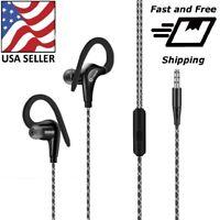 In-Ear Wired Sport Running Earphone Earbuds Clip ear Hook Headphone 3.5mm w/MIC