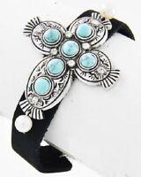 Western Cowgirl Silver Turquoise Southwestern Cross Black Faux Leather Bracelet