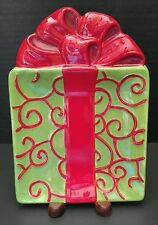 *Kringle Christmas Gourmet Fitz & Floyd Snack Plate Red Swirls on Green