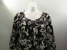Jones New York Signature Woman 2x Sheer Summer Blouse Top Black and White