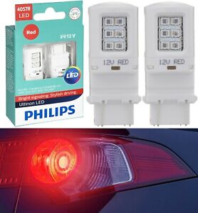 Philips Ultinon LED Light 4057 Red Two Bulbs Brake Stop Tail Lamp Upgrade Stock