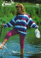 "EM6899 LADIES / GIRLS CHUNKY LACY STRIPED SWEATER KNITTING PATTERN 28-36""/71-91c"