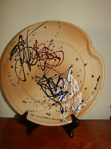 Vintage Royal Haeger Pottery Sandstone Splatter Abstract Plate Art Pfalzgraff