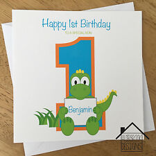 Personalised dinosaur card,1st 2nd 3rd birthday. Any Age/Name. Son/Grandson