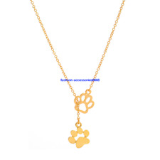 Cute Dog Cat Charm Paw Print Pendant Love Heart Necklace Chain Pet Lover Gif