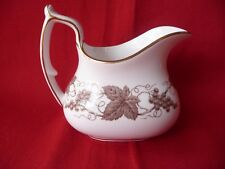 Spode Copelands Creamer Porcelain Made in England White Brown Vine Grapes