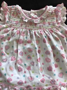 Kissy Kissy White Dress & Diaper Cover Pink Hearts 💕- 3-6 Months