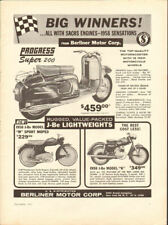 1958 Berliner Scooters, Mopeds, Lightweight Motorcycles Sachs Engines Vintage Ad