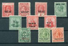 "450234) Falklandinseln Lot Aufdruckmarken ""War Tax"", ungebraucht, 1x gestempelt"