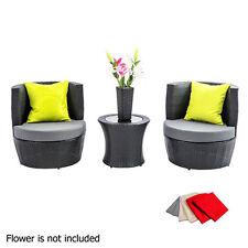 4pcs Outdoor Furniture Set 2 Seater Stackable Wicker Rattan Garden Patio Grey